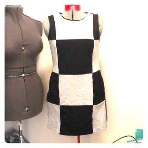 Philosophy black grey checkered mini dress szM